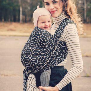 zwarte baby draagdoek Mixite raven