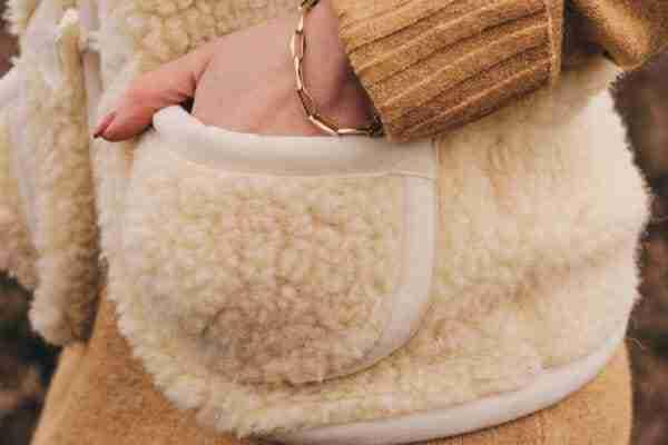 Bodywarmer van wol beige
