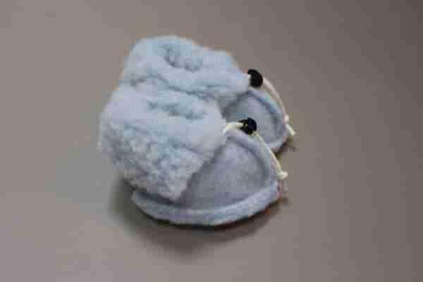Wollen slofjes voor baby - Blauw