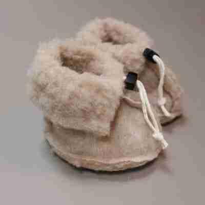 Wollen slofjes voor baby - Beige